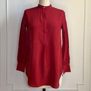Madewell Red Silk Long Sleeve Blouse